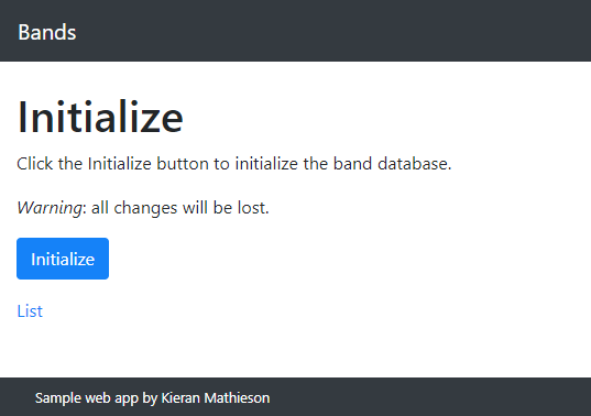 Initialization page